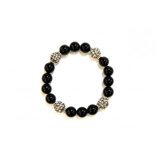 Black Onyx and Rhinestone Crystal Shamballa Bead Bracelet