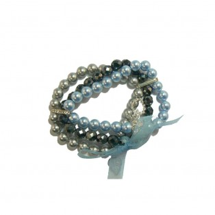 Swarovski Pearl and Crystal Bracelet - 3 Strand (Black, Blue and Grey)