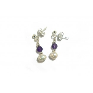 Purple Amethyst and Pearl Drop Earrings
