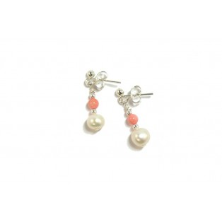 Beautiful Angel Skin Coral and Pearl Drop Earrings