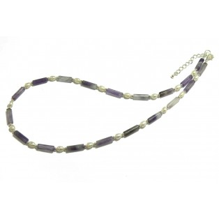 Purple Fluorite and Pearl Beaded Necklace