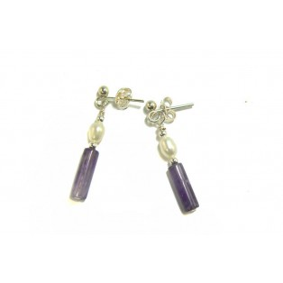 Purple Fluorite and Pearl Drop Earrings