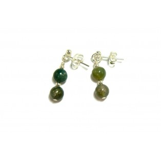 Moss Green Drop Agate Earrings
