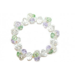 Stunning Pale Green and Lilac Beaded Crystal Bracelet