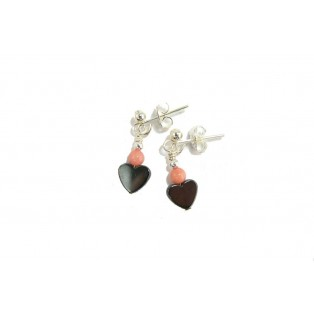 Grey Hematite Hearts and Angel Skin Coral Drop Earrings
