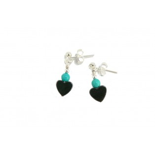 Grey Hematite Hearts and Turquoise Drop Earrings