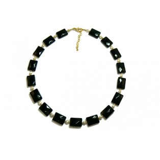 Black Faceted Jet Beaded Necklace With GlassPearls