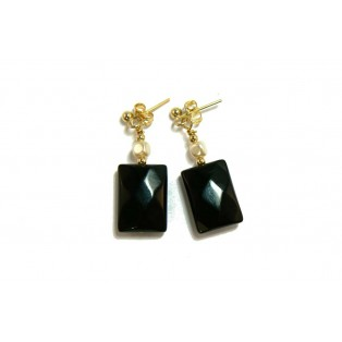 Faceted Black Jet Drop Earrings with Glass Pearls