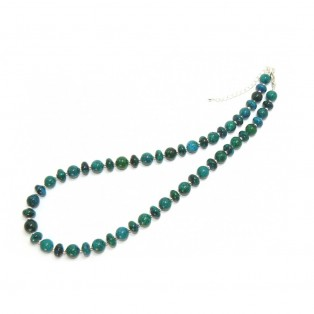 Lustrous Green/Blue Chrysocolla Beaded Necklace