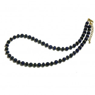 Lapis Lazuli Necklace - Round And Rondelle Beads