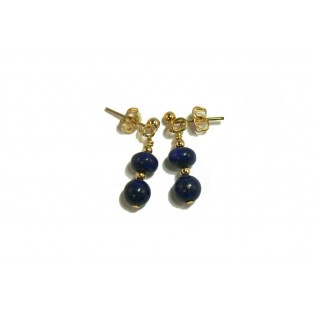 Lapis Lazuli Earrings - Round and Rondelle Beads