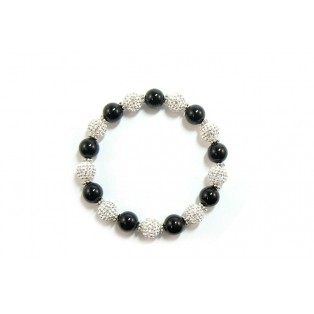 Large Black Onyx and Shamballa Bead Bracelet