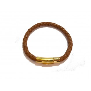 Men's Light Brown Plaited Real Leather Bracelet