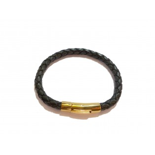 Men's Black Plaited Real Leather Bracelet