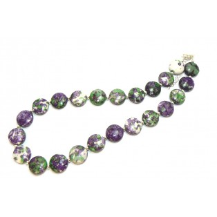 Purple and Green Beaded Calsilica Necklace