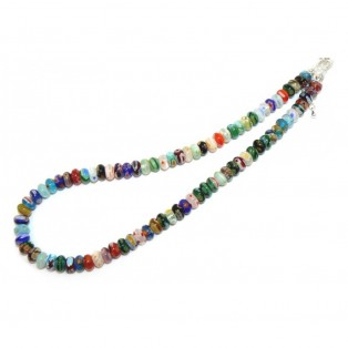Colourful Floral Millefiori Glass Beaded Necklace