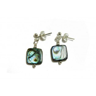 Square Paua Shell Drop Earrings