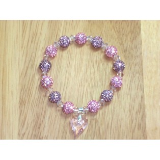Amethyst and Rose Shamballa bracelet with a Swarovski crystal wild heart