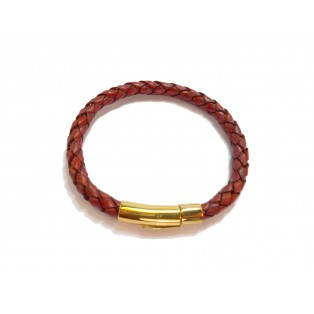 Red Plaited Real Leather Bracelet