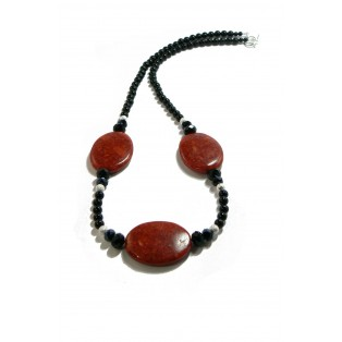 Red Pressed Sponge Coral and Onyx Necklace