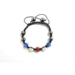 Red, White and Blue Shamballa Bracelet