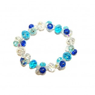 Sapphire Blue, Aqua and Crystal Bracelet- Faceted Beads