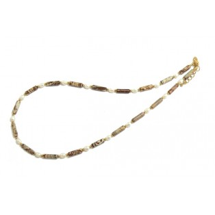 Saturn Jasper and Freshwater Pearl Necklace