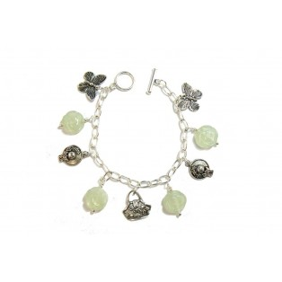Silver Plated and Serpentine Charm Bracelet