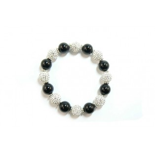 Small Black Onyx and Shamballa Bracelet