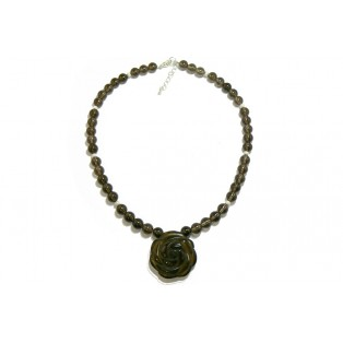 Smoky Quartz Beaded Necklace with Rose Carved Pendant