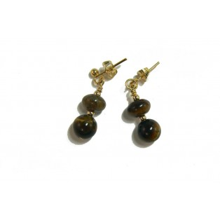 Tiger's Eye Earrings - Rondelle And Round Beads
