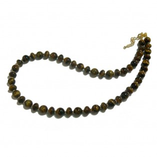 Tiger's Eye Necklace - Rondelle And Round Beads