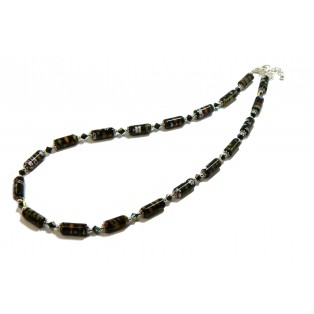 Black Beaded Millefiori Floral Pattern Necklace