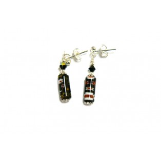 Black Floral Millefiori Drop Earrings