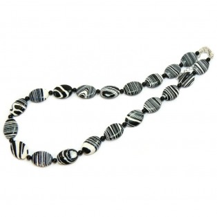 Black and White Beaded Calsilica Necklace