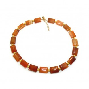 Orange Beaded Carnelian Necklace