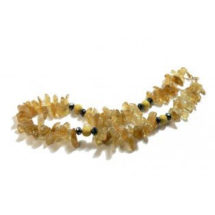 Yellow Chip Citrine Beaded Necklace