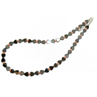 Grey Hematite Hearts and Angel Skin Coral Beaded Necklace
