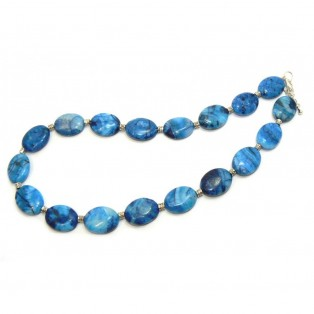 Blue Beaded Crazy Lace Agate Necklace