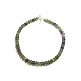 Stylish Dark Purple and Green Beaded Fluorite Necklace
