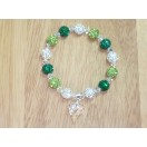 Emerald, Peridot and White Shamballa style bracelet with clear crystal Swarovski wild heart