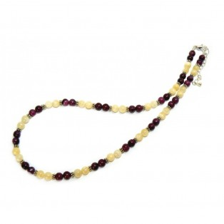 Purple Jasper And Honey Jade Drop Beaded Necklace