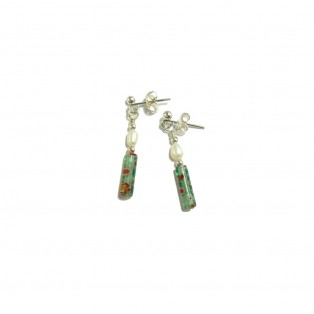 Green Floral Millefiori and Freshwater Pearl Drop Earrings