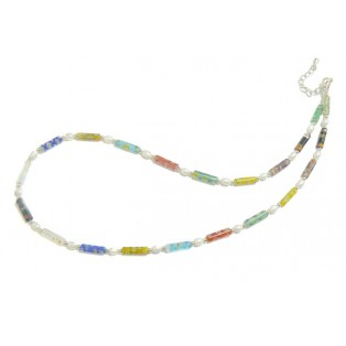 Multicoloured Floral Millefiori Beaded Necklace