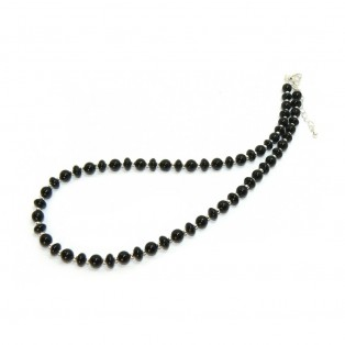 Onyx Necklace - Black Rondelle And Round Beads with Silver Spacers
