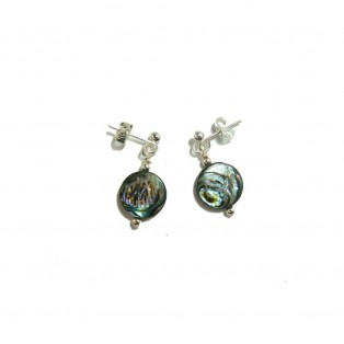 Paua Shell Earrings - Button Beads