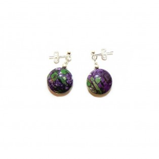 Purple and Green Calsilica Drop Earrings