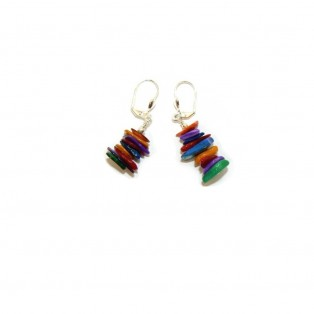 Multi-Coloured Rainbow Mother of Pearl Earrings