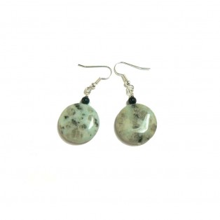 Pale Green Sesame Jasper Drop Earrings