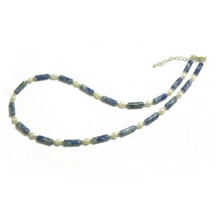 Blue Beaded Sodalite Necklace With Freshwater Pearls